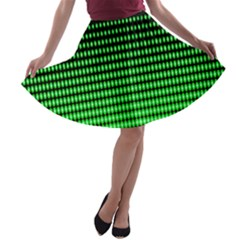 Neon Green And Black Halftone Copy A-line Skater Skirt