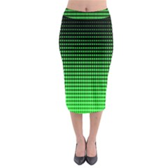 Neon Green And Black Halftone Copy Midi Pencil Skirt