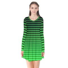 Neon Green And Black Halftone Copy Flare Dress