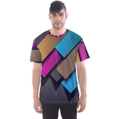 Shapes Box Brown Pink Blue Men s Sport Mesh Tee