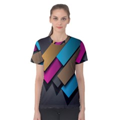 Shapes Box Brown Pink Blue Women s Cotton Tee