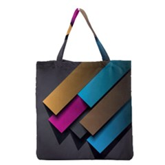 Shapes Box Brown Pink Blue Grocery Tote Bag