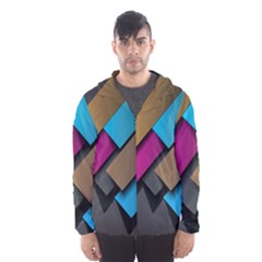 Shapes Box Brown Pink Blue Hooded Wind Breaker (Men)