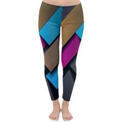 Shapes Box Brown Pink Blue Classic Winter Leggings