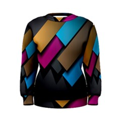 Shapes Box Brown Pink Blue Women s Sweatshirt