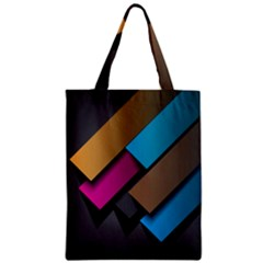 Shapes Box Brown Pink Blue Zipper Classic Tote Bag