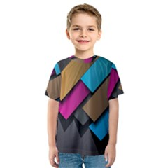 Shapes Box Brown Pink Blue Kids  Sport Mesh Tee