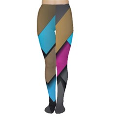 Shapes Box Brown Pink Blue Women s Tights