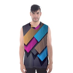 Shapes Box Brown Pink Blue Men s Basketball Tank Top
