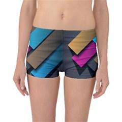 Shapes Box Brown Pink Blue Boyleg Bikini Bottoms