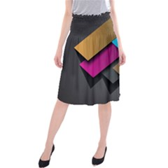 Shapes Box Brown Pink Blue Midi Beach Skirt