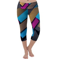 Shapes Box Brown Pink Blue Capri Yoga Leggings