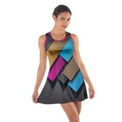 Shapes Box Brown Pink Blue Cotton Racerback Dress
