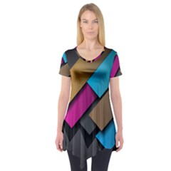 Shapes Box Brown Pink Blue Short Sleeve Tunic