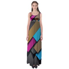 Shapes Box Brown Pink Blue Empire Waist Maxi Dress
