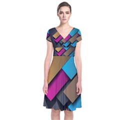 Shapes Box Brown Pink Blue Short Sleeve Front Wrap Dress