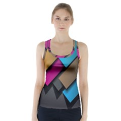 Shapes Box Brown Pink Blue Racer Back Sports Top