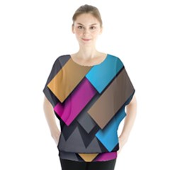 Shapes Box Brown Pink Blue Blouse