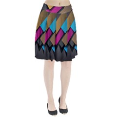 Shapes Box Brown Pink Blue Pleated Skirt