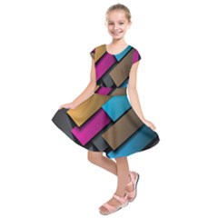 Shapes Box Brown Pink Blue Kids  Short Sleeve Dress
