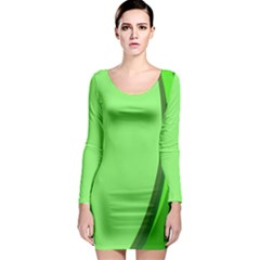 Simple Green Long Sleeve Bodycon Dress