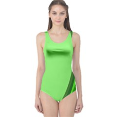 Simple Green One Piece Swimsuit