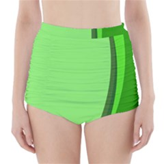 Simple Green High-Waisted Bikini Bottoms