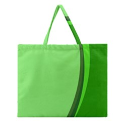 Simple Green Zipper Large Tote Bag