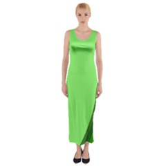 Simple Green Fitted Maxi Dress