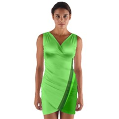 Simple Green Wrap Front Bodycon Dress