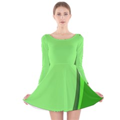 Simple Green Long Sleeve Velvet Skater Dress