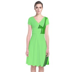 Simple Green Short Sleeve Front Wrap Dress