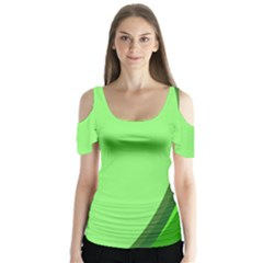Simple Green Butterfly Sleeve Cutout Tee
