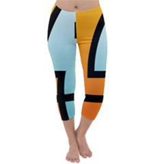 Two Fafe Orange Blue Capri Winter Leggings