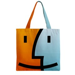 Two Fafe Orange Blue Zipper Grocery Tote Bag