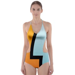 Two Fafe Orange Blue Cut-Out One Piece Swimsuit