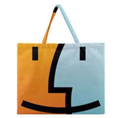 Two Fafe Orange Blue Zipper Large Tote Bag
