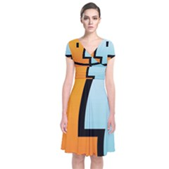 Two Fafe Orange Blue Short Sleeve Front Wrap Dress