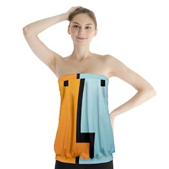 Two Fafe Orange Blue Strapless Top
