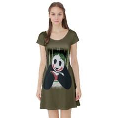 Simple Joker Panda Bears Short Sleeve Skater Dress