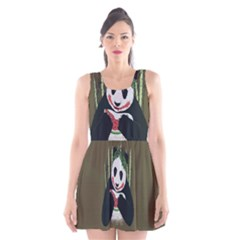 Simple Joker Panda Bears Scoop Neck Skater Dress