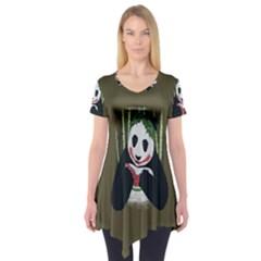 Simple Joker Panda Bears Short Sleeve Tunic