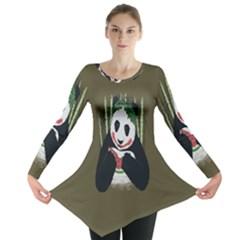 Simple Joker Panda Bears Long Sleeve Tunic