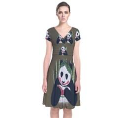 Simple Joker Panda Bears Short Sleeve Front Wrap Dress