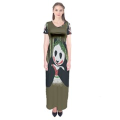 Simple Joker Panda Bears Short Sleeve Maxi Dress