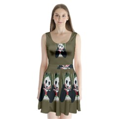 Simple Joker Panda Bears Split Back Mini Dress