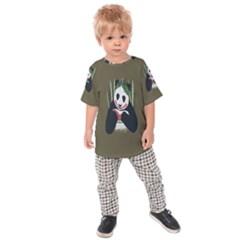 Simple Joker Panda Bears Kids  Raglan Tee