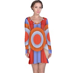 Round Color Copy Long Sleeve Nightdress