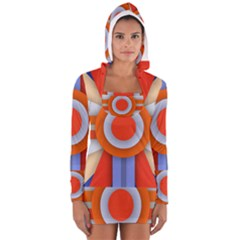 Round Color Copy Women s Long Sleeve Hooded T-shirt