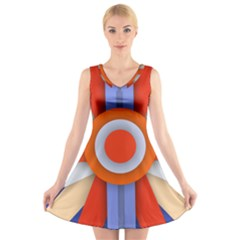 Round Color Copy V-Neck Sleeveless Skater Dress